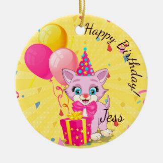 Birthday Cutie Pink Kitten Cartoon Ceramic Ornament