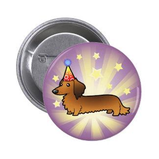 Birthday Dachshund (longhair) Button