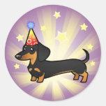 Birthday Dachshund (smooth coat) Round Stickers