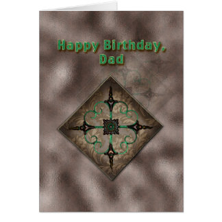 Birthday, Dad, Brown and Green Abstract Art Card