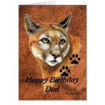 Birthday Dad Cougar, Puma, Mountain Lion Animal Stationery Note Card