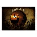 Birthday Dad - Deer Hunting - Sunset Greeting Card