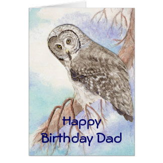 Birthday Dad, Father Great Gray Owl, Bird Nature Card