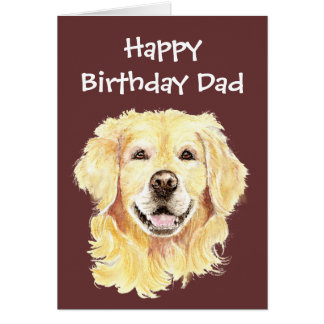 Birthday Dad Watercolor Golden Retriever Dog Card
