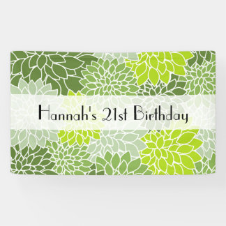 Birthday - Dahlia Flowers, Blossoms - Green Banner