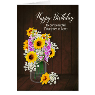 BIRTHDAY - DAUGHER-IN-LOVE - COUNTRY FLOWERS/VASE CARD