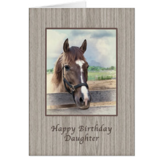 Birthday, Daughter, Brown Horse with Bridle Card