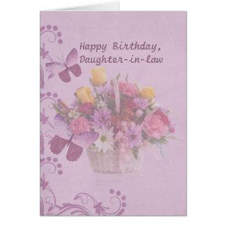 Birthday, Daughter-in-law, Basket of Flowers Card