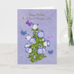 "Birthday, Daughter-in-law, Butterflies and Flowers Card<br><div class=""desc"">Customize this birthday greeting card for a daughter-in-law by using the provided text templates on the cover and inside to change or delete the wording. Four colorful butterflies in hues of blue, purple, and pink, hover around a bouquet of purple and white bell shaped flowers. The background is a mingled...</div>"