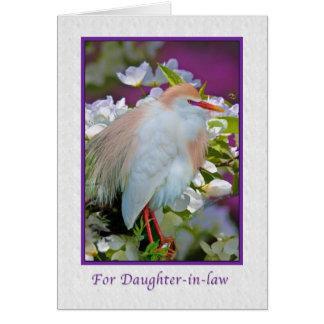 Birthday, Daughter-in-law, Cattle Egret Bird Card
