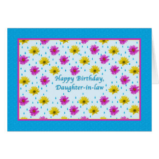 Birthday, Daughter-in-law, Pink and Yellow Daisies Greeting Card