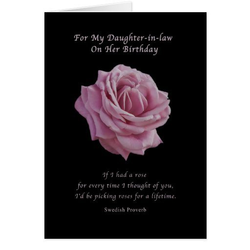 Daughter Law For Birthday In Gift Ideas On Card Pink Zazzle Rose