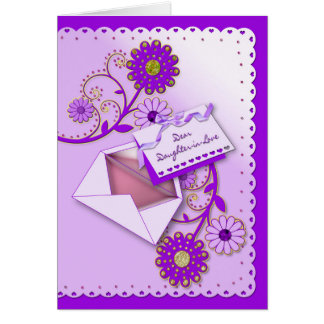 Birthday - Daughter-in-Law - Purple/Flowers/Letter Card