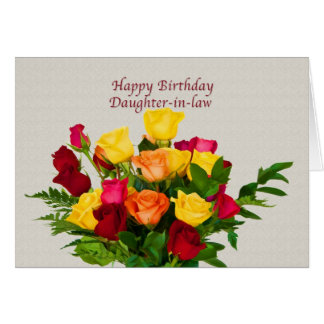 Birthday, Daughter-in-law, Rose Bouquet Card