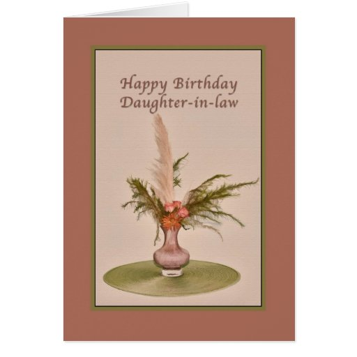 Birthday, Daughter-in-law, Vase of Roses and Ferns Cards