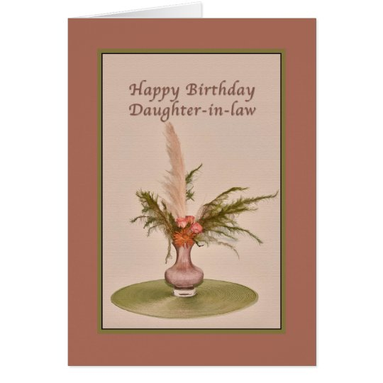 Birthday, Daughter-in-law, Vase of Roses and Ferns Card