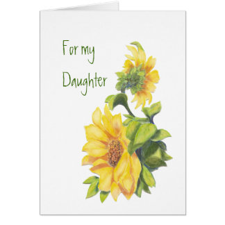 Birthday Daughter Watercolor Sunflowers, Floral Card