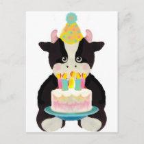 birthday day cow postcard