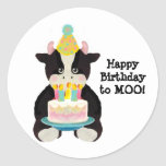 birthday day cow stickers