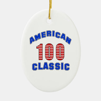 Birthday Design 100 Double-Sided Oval Ceramic Christmas Ornament