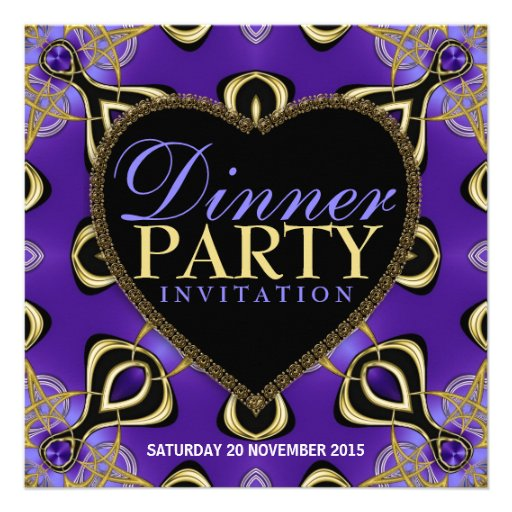 "Birthday Dinner Party Purple Gold Invitations 5.25"" Square"