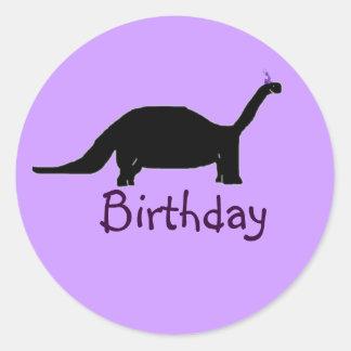 Birthday Dinosaur Classic Round Sticker