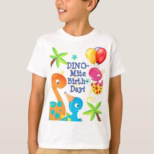 Birthday Dinosaurs and Balloons Custom T_Shirt