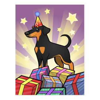 Birthday Doberman Pinscher (floppy ears) Postcard