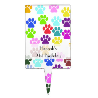 Birthday - Dog Paws, Paw-prints - Red Blue Green Cake Topper