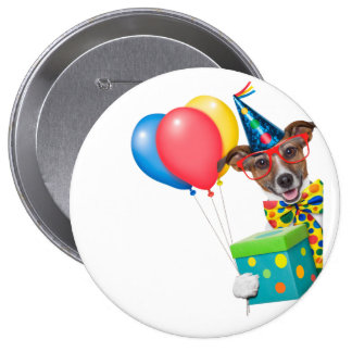 Birthday Dog With Balloons Tie and Glasses 4 Inch Round Button