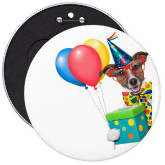 Birthday Dog With Balloons Tie and Glasses 6 Inch Round Button