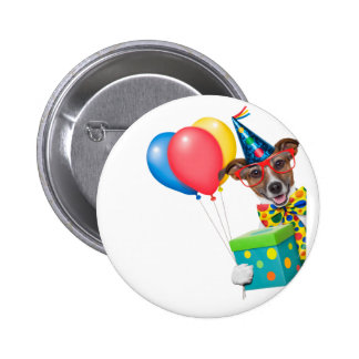 Birthday Dog With Balloons Tie and Glasses 2 Inch Round Button