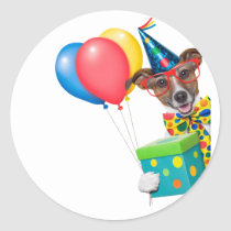 Birthday Dog With Balloons Tie and Glasses Classic Round Sticker