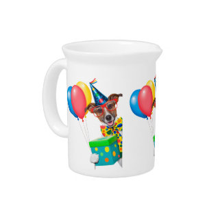 Birthday Dog With Balloons Tie and Glasses Drink Pitchers