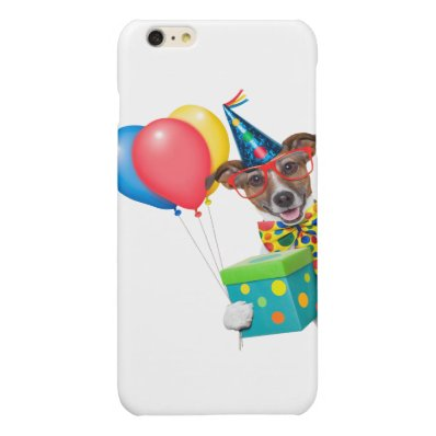 Birthday Dog With Balloons Tie and Glasses Glossy iPhone 6 Plus Case