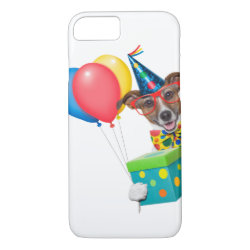 Birthday Dog With Balloons Tie and Glasses iPhone 8/7 Case