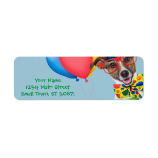 Birthday Dog With Balloons Tie and Glasses Label