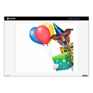 Birthday Dog With Balloons Tie and Glasses Laptop Decals