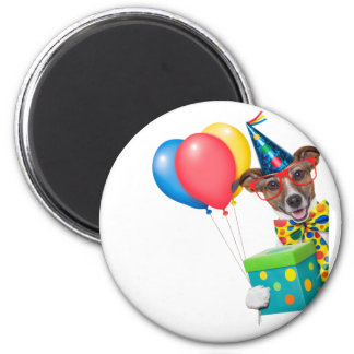 Birthday Dog With Balloons Tie and Glasses Magnet