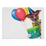 Birthday Dog With Balloons Tie and Glasses Poster