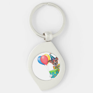 Birthday Dog With Balloons Tie and Glasses Silver-Colored Swirl Metal Keychain
