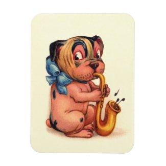 Birthday Dog with Saxophone