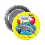 Birthday dolphin 2 inch round button