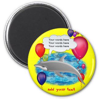 Birthday dolphin 2 inch round magnet