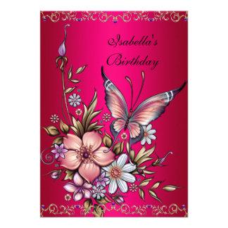 Birthday Elegant Pink Fushia Floral Butterfly Personalized Invitation