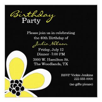 Birthday elegante Invitation de señora negra y ama Anuncio Personalizado