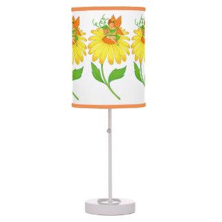 Birthday Fairy Holding Gift on Yellow Flower Desk Lamp