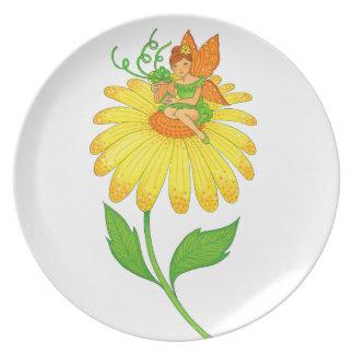 Birthday Fairy Holding Gift on Yellow Flower Dinner Plate