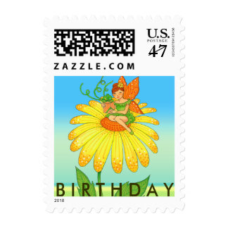 Birthday Fairy Holding Gift on Yellow Flower Postage