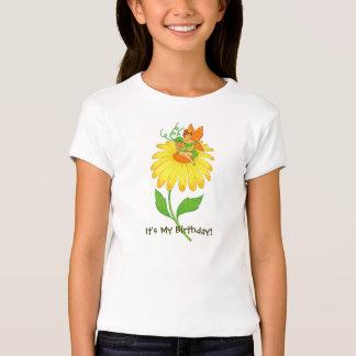 Birthday Fairy Holding Gift on Yellow Flower T-Shirt